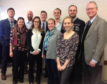 Rep. Bishoff Dean Burke and OU-HCOM student leaders on the Dublin Campus
